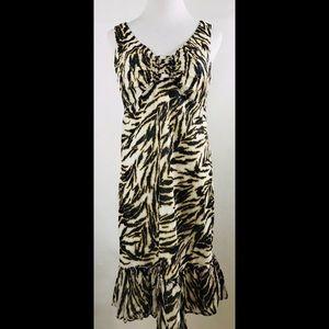 Talbots Animal Print Sleeveless Ruffle Hem Dress